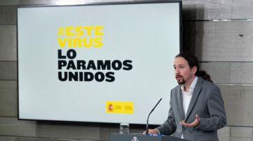 El vicepresidente de Derechos Sociales y Agenda 2030, Pablo Iglesias, durante su intervención en la rueda de prensa posterior al Consejo de Ministros.