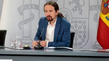 Foto de la  rueda de prensa de Pablo Iglesias como vicepresidente tras el último Consejo de Ministros