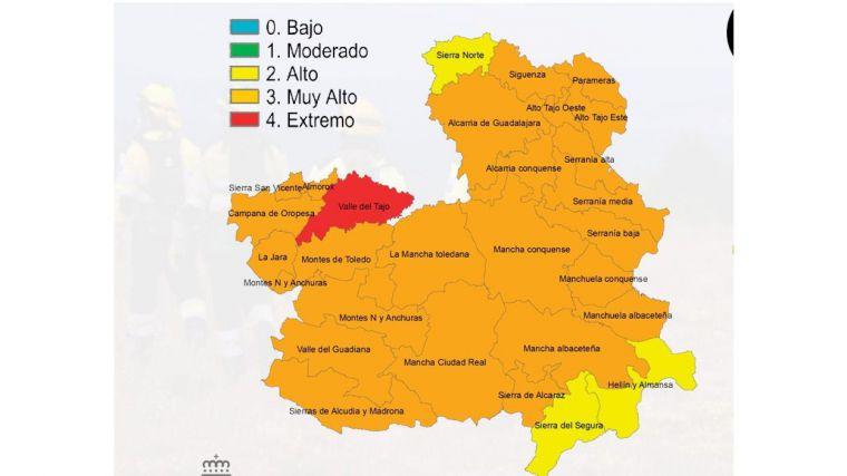Riesgo extremo de incendios forestales en el valle del Tajo en Toledo