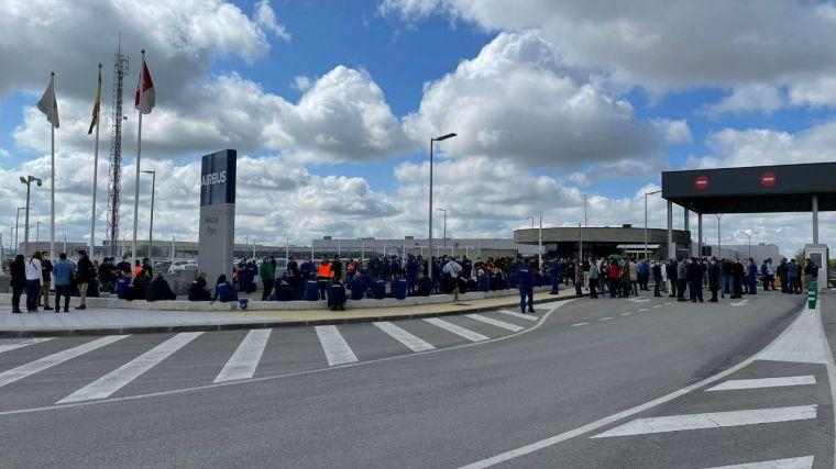 Seguimiento masivo de la primera jornada de paros en las factorías de Airbus en Illescas y Albacete