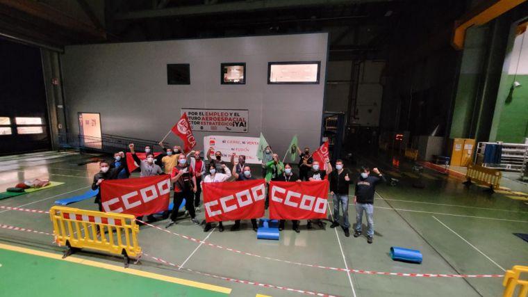 Los integrantes de los comités de empresa de Airbus en Illescas y Albacete finalizan su de su encierro