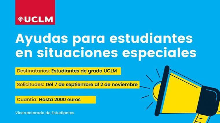 La UCLM publica la convocatoria de ayudas a estudiantes en situaciones especiales, que podrán solicitarse desde el 7 de septiembre