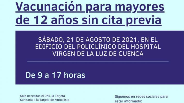El sábado arranca en el Policlínico de Cuenca una vacunación sin cita para los mayores de 12 años