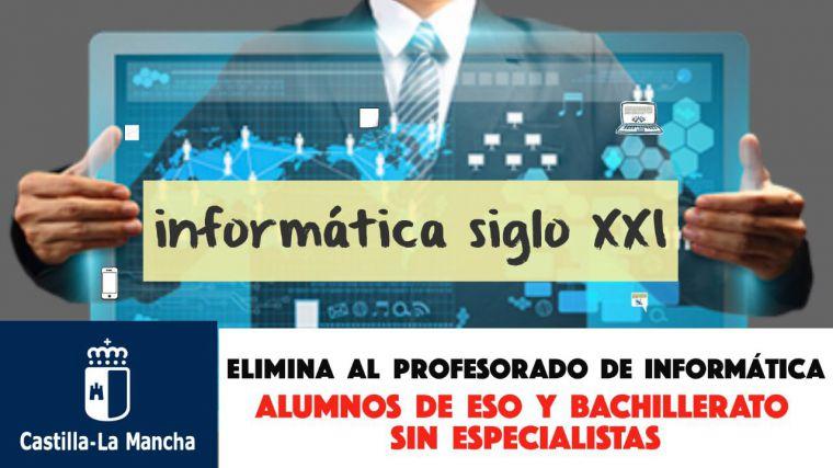 ARPICM acusa a la Consejería de Educación de dejar a los alumnos de ESO y Bachillerato sin profesorado especialista en Informática