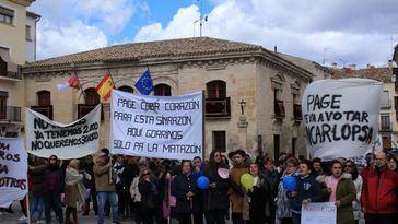 Concentración en Priego el pasado mes de abril para protestar por la instalación de macrogranjas en CLM.
