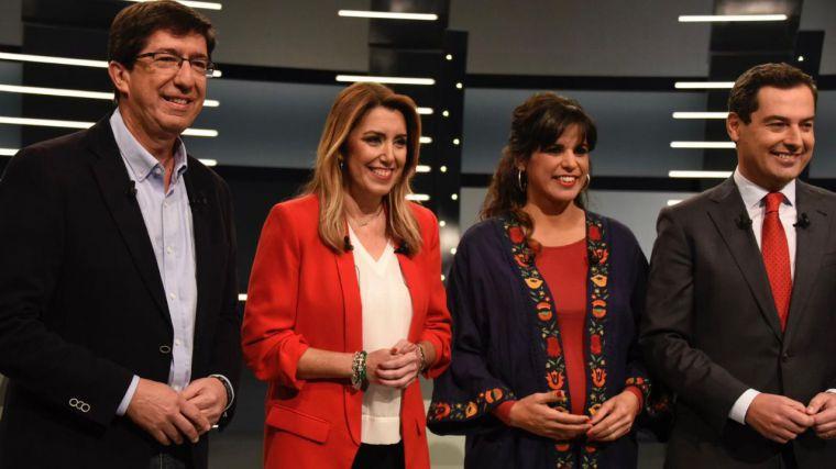 Los candidatos a las elecciones andaluzas en el debate electoral.