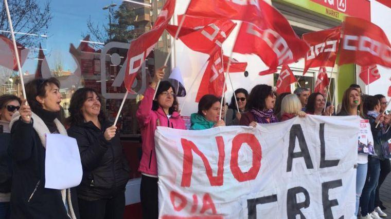 Éxito rotundo en CLM de los paros convocados por CCOO-Servicios contra el ERE de las tiendas DIA